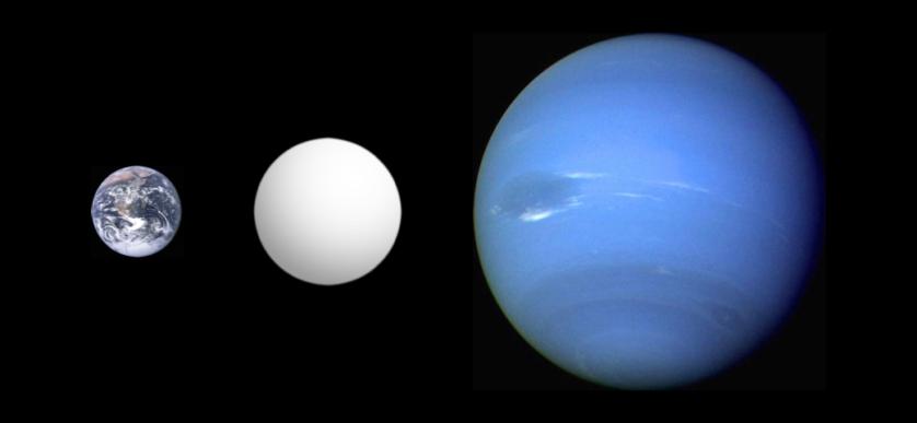 Comparação de tamanho: Terra, uma super-Terra e Netuno