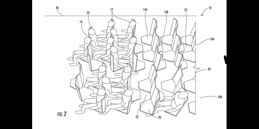 assentos hexagonais aviao classe economica
