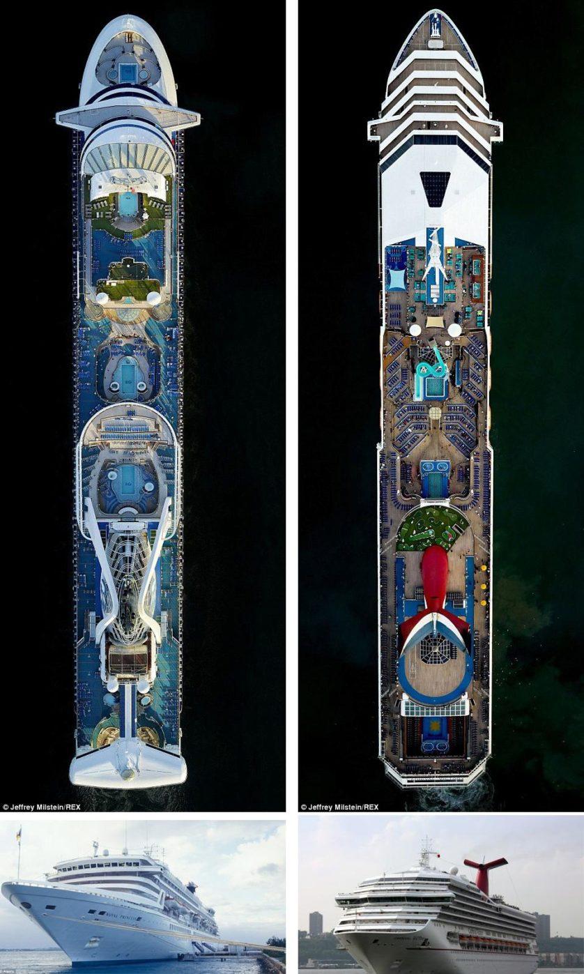 O Caribbean Princess tem um cinema ao lado da piscina gigante que impressiona qualquer um. The Carnival Victory tem bons restaurantes em toda a embarcação