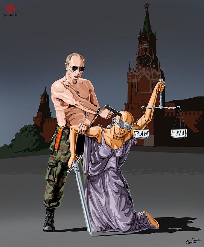 Ilustrações satíricas revelam como líderes mundiais veem a justiça