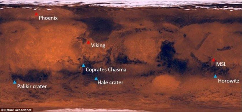 Este gráfico mostra a distribuição dos locais onde sais de perclorato foram detectadas em Marte