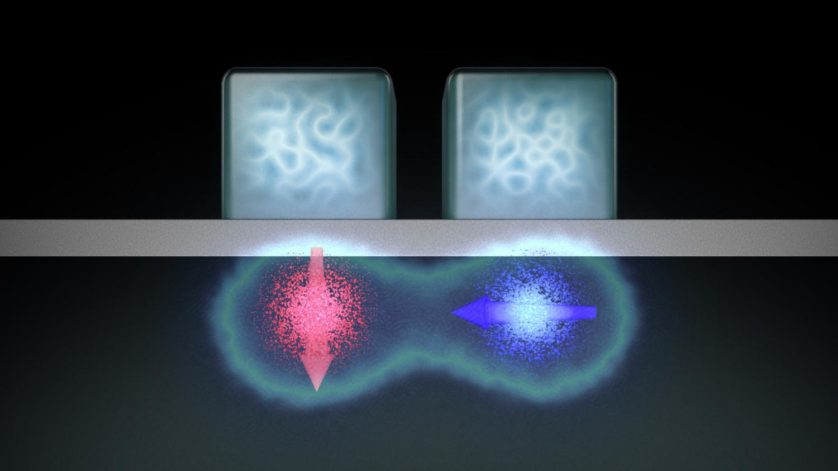 Impressão artística do dispositivo de porta lógica de dois qubits