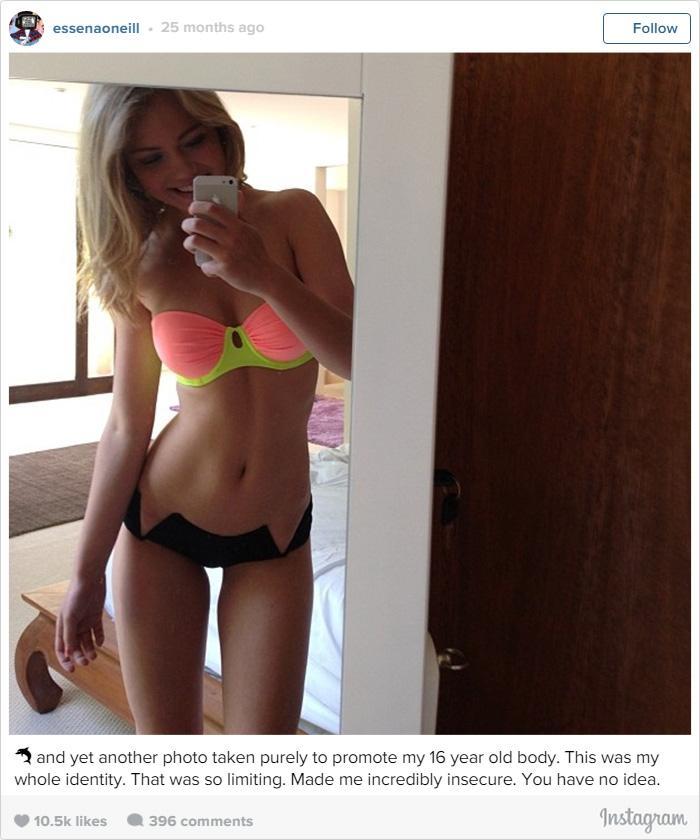 """""""E mais uma foto para promover meu corpo de 16 anos de idade. Esta era toda a minha identidade. Isso era tão limitador. Me fez ser inacreditavelmente insegura. Você não faz ideia."""""""