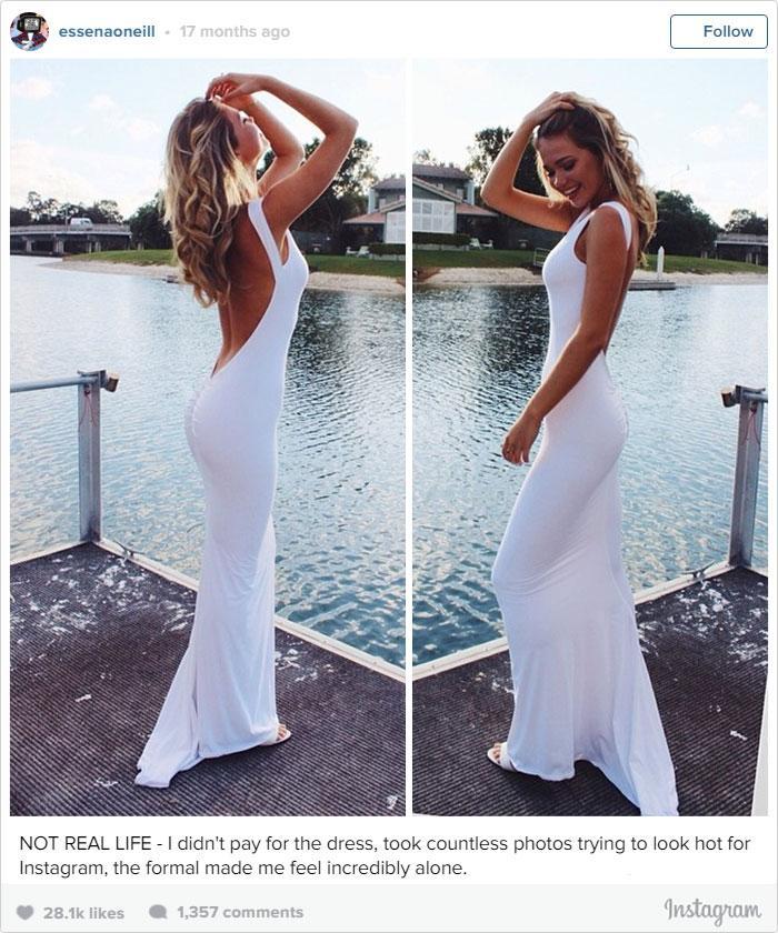 """""""Esta não é a vida real. Eu não paguei por este vestido, levaram incontáveis fotos até eu parecer gostosa para o Instagram e esta produção fez eu me sentir incrivelmente sozinha."""""""
