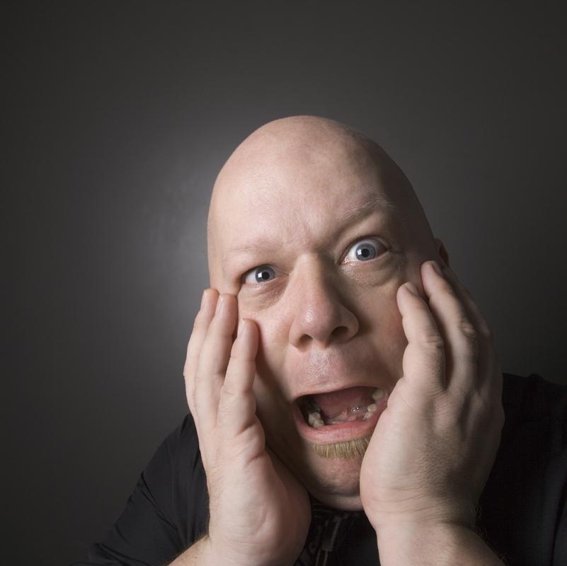 Man looking shocked.
