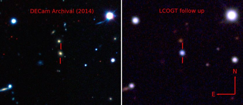 À esquerda, a galáxia está destacada, à direita a supernova ofusca a galáxia.