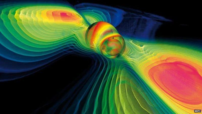 Simulação de colisão de buracos negros