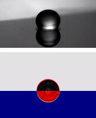 Na primeira imagem, a gota de etanol cai em uma superfície a 150° C. Na imagem de baixo,com fundo azul, a cor vermelha indica a altura da gota. Sem altura significante, ela tem grande contato com a superfície.