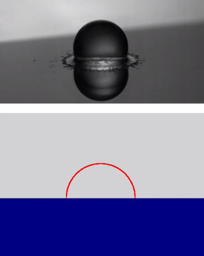 Na terceira imagem, a gota de etanol cai em uma superfície a 220° C. A cor da imagem inferior mostra que a gota não só não toca mais a superfície como está bastante distante dela.