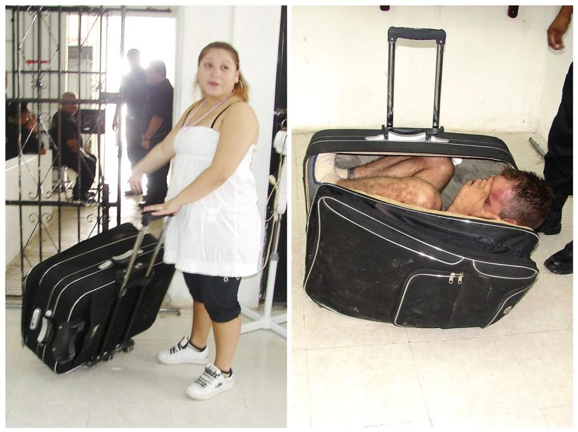 Handout photographs of Mexican prisoner trying to escape from jail inside a suitcase