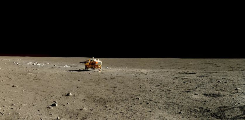 Em 13 de janeiro de 2014, o rover Yutu fez um panorama da Chang'e-3 e seus arredores. Dois dias terrestres depois, seu motor falhou, encalhando-o.