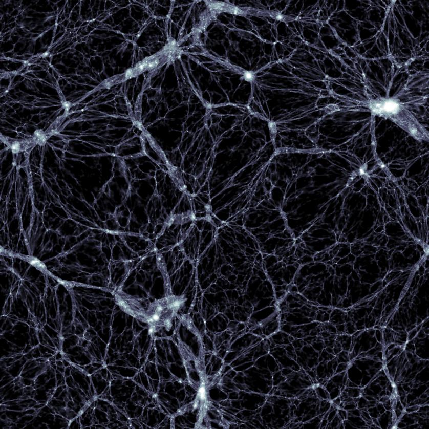 Imagem gerada pela simulação illustris. Ela mostra a distribuição da matéria escura, com uma largura e uma altura de 350 milhões de anos-luz