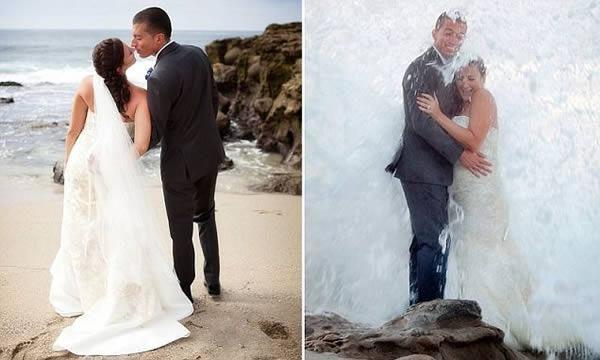 onda em foto de casamento