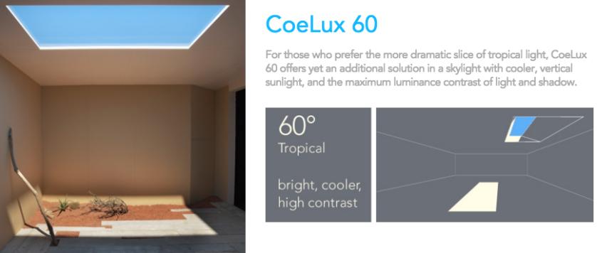 com raios e ângulo de 60 graus, que simula a luz solar nos trópicos