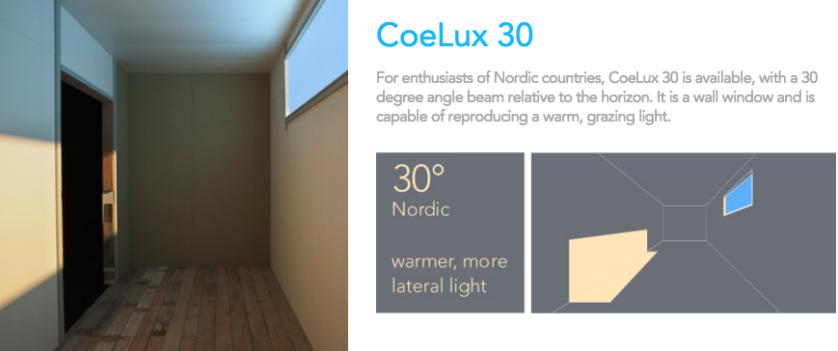 raios em ângulo de 30 graus, imitando a luz solar lateral de países Nórdicos (neste caso é necessário que seja instalada na parede, e não no teto)