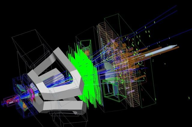 Simulação de computador do raro decaimento de mésons B no detector LHCb, CERN