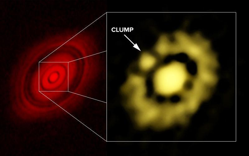 A imagem amarela mostra a parte interna do disco de poeira ao redor da estrela HL Tau, que não podia ser visualizada até agora