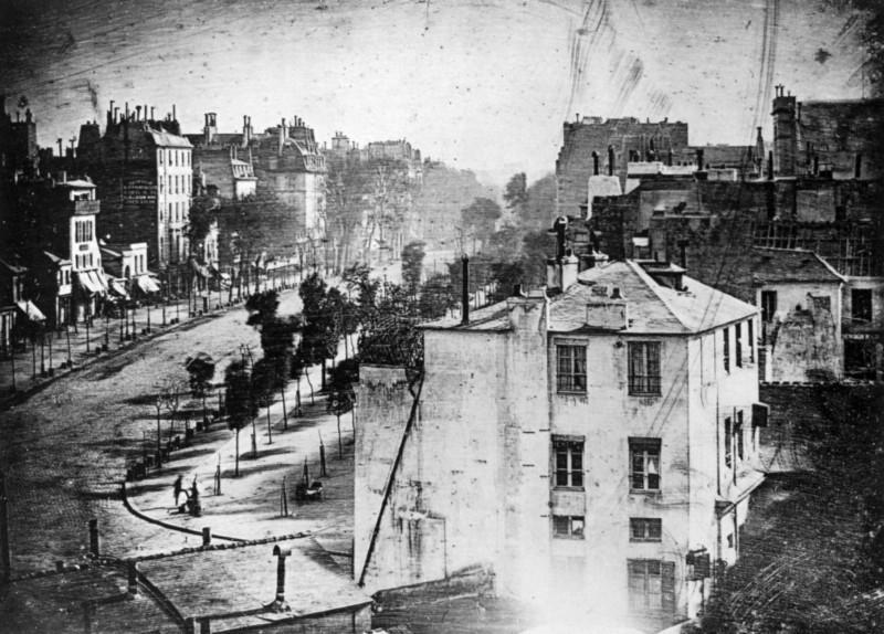 Boulevard du Temple, 1838, por Louis Daguerre