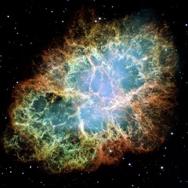 Nebulosa do Caranguejo/Crab Nebula, o resultado de uma supernova vista em 1054. Crédito: Hubble Space Telescope