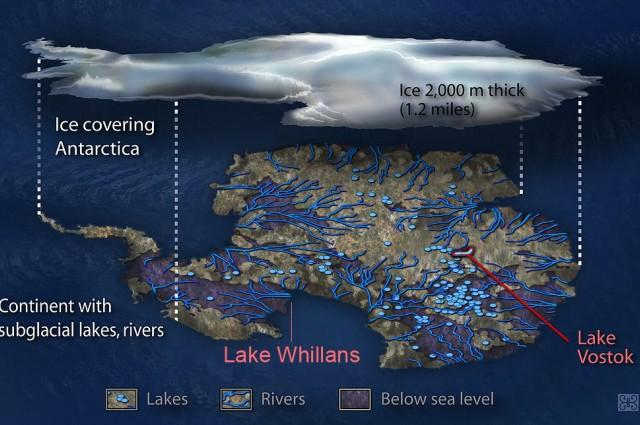 A concepção de um artista do ambiente subglacial abaixo da Antártica