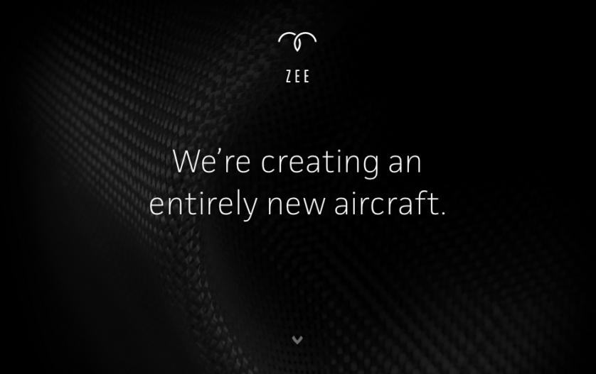 """Página inicial da Zee.Aero diz: """"Estamos criando uma aeronave totalmente nova""""."""