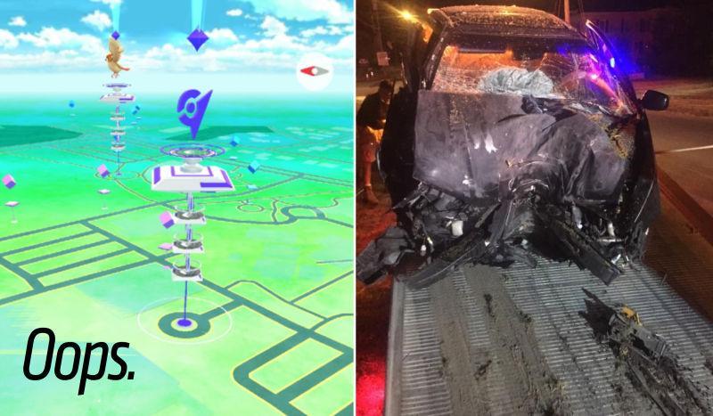 aidente carro pokemon go