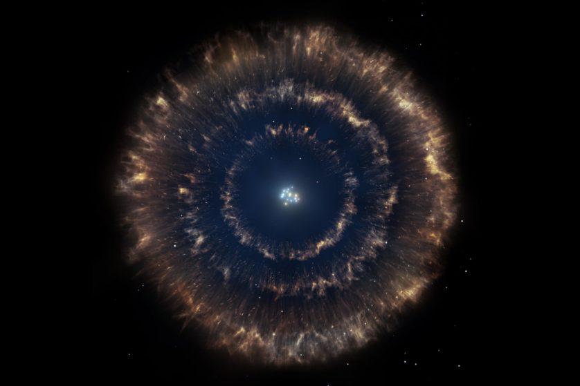 Representação artística do objeto mostrando o aglomerado estelar, cercado pelas três bolhas. Crédito: Gabriel Pérez/SMM (IAC).