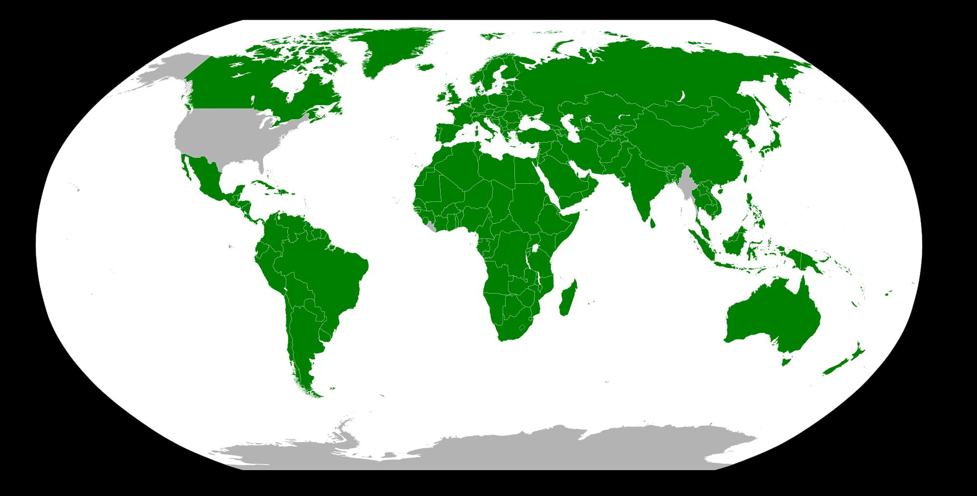 Países em verde usam o sistema métrico