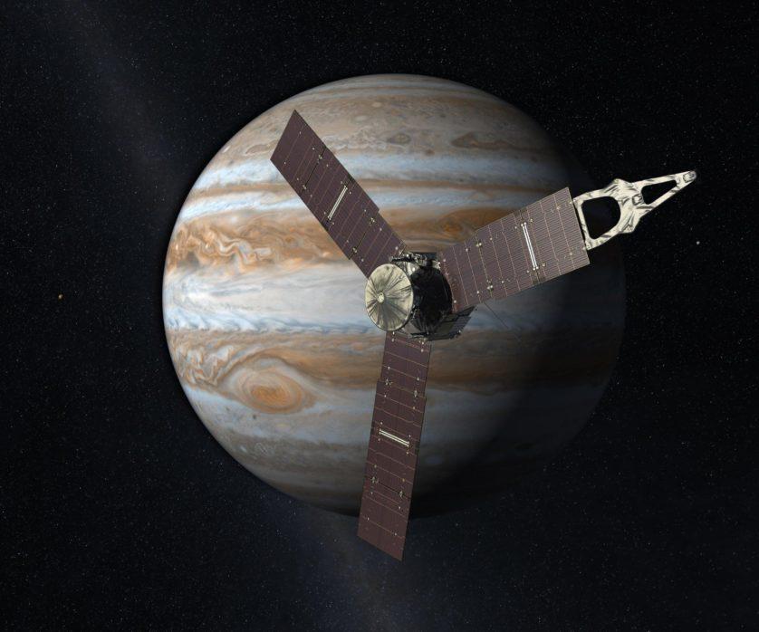 Impressão artística da sonda Juno acima do planeta Júpiter