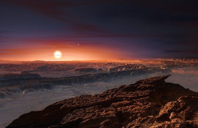 Impressão artística de como seria ver Proxima Centauri a partir da superfície de Proxima b. A estrela brilhante próxima é Proxima Centauri