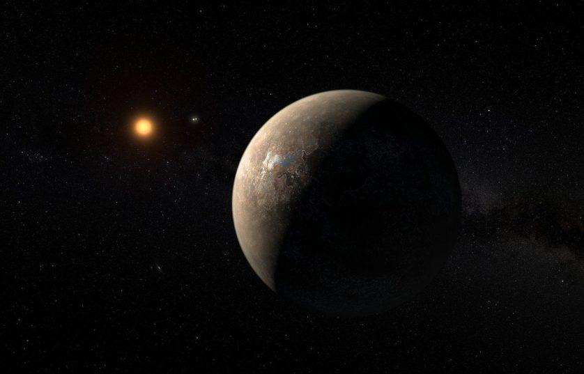 Impressão artística mostrando Proxima b orbitando a anã vermelha Proxima Centauri