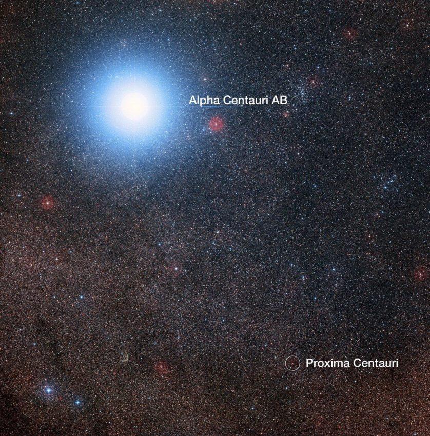 O céu em torno de Proxima Centauri e Alfa Centauri AB