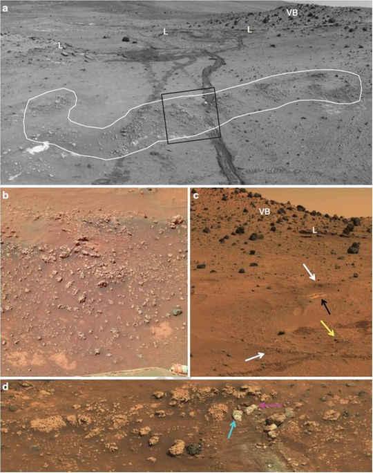 Imagens do rover Spirit mostram afloramentos nodulares de sílica opalina
