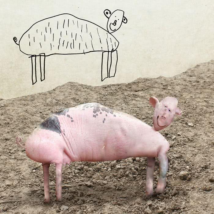 Porco desenhado por uma criança e transformado em realidade por photoshop