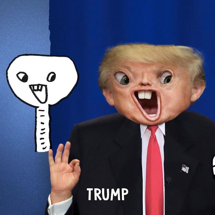 Donald Trump desenhado por uma criança e transformado em realidade por photoshop