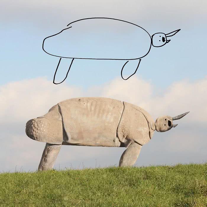 Rinoceronte desenhado por uma criança e transformado em realidade por photoshop