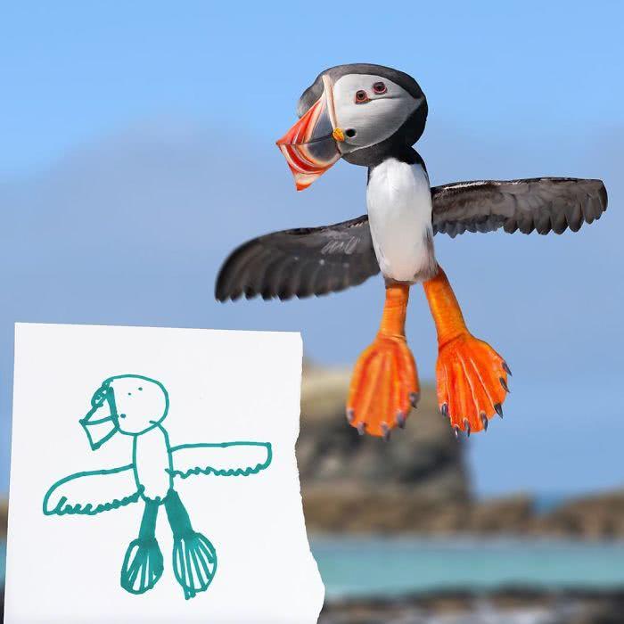 Papagaio do mar desenhado por uma criança e transformado em realidade por photoshop
