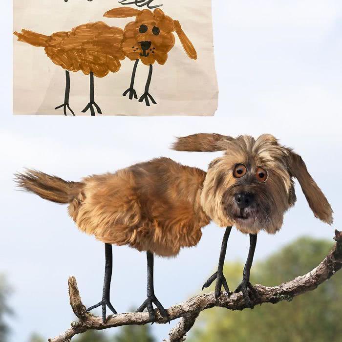 Cachorro desenhado por uma criança e transformado em realidade por photoshop