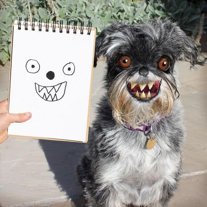 cachorro risonho desenhado por uma criança e transformado em realidade por photoshop