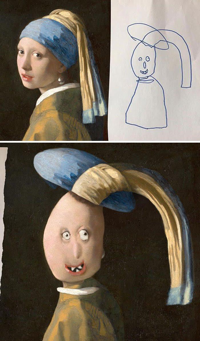 A menina com colar de pérola desenhada por uma criança e transformada em realidade por photoshop