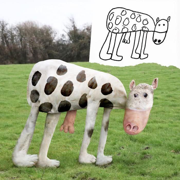 Vaca desenhada por uma criança e transformada em realidade por photoshop