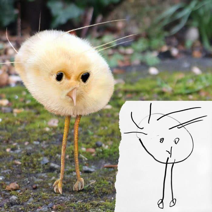 Pintinho desenhado por uma criança e transformado em realidade por photoshop
