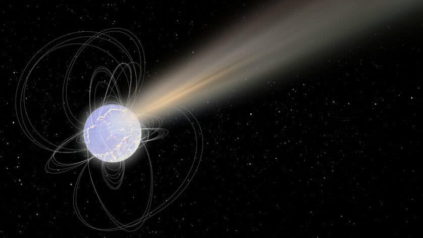 Ilustração de um magnetar emitindo raios-X e ondas de rádio