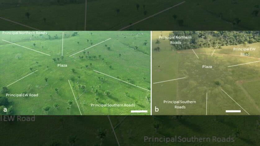 Uma vista de aldeias redondas na Amazônia